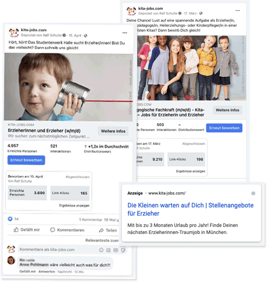 Job-Promotion auf Facebook, Instagram
